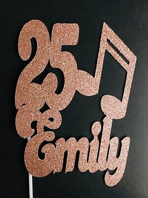 """£6 • Buy Personalised 8"""" Glitter Music Note Name & Age Birthday Cake Topper Decoration"""