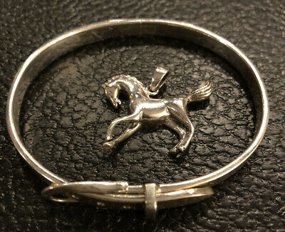 $ CDN64.71 • Buy 30.4 Grams 925 Sterling Silver Jewelry Lot Buckle Bracelet And Horse Charm