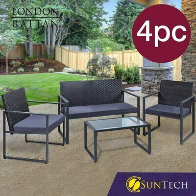 AU239 • Buy 【EXTRA15%OFF】LONDON RATTAN 4PC Outdoor Furniture Setting Patio Wicker Set