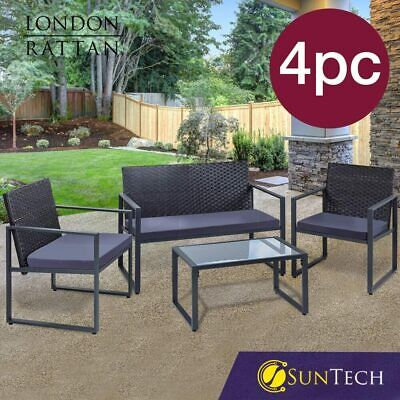 AU239 • Buy 【EXTRA20%OFF】LONDON RATTAN 4PC Outdoor Furniture Setting Patio Wicker Set