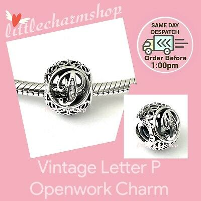 AU44.10 • Buy New Authentic Genuine PANDORA Vintage Letter P Openwork Charm - 791860CZ RETIRED