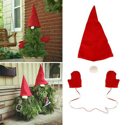 3Pcs Christmas Tree Gnome Red Topper Cover Red Dress Up Set Xmas Tree Top Decor • 3.89£
