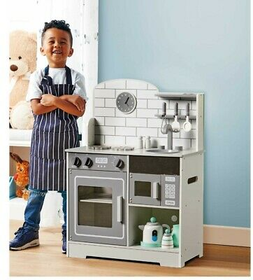 Little Town Large Grey Wooden Kitchen Pretend Toys &Utensil Ideal Christmas Gift • 59.99£