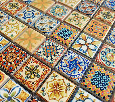 New Moroccan Vintage Ceramic Square Mosaic Tiles Multi Colour Turkish Geometric • 9.98£