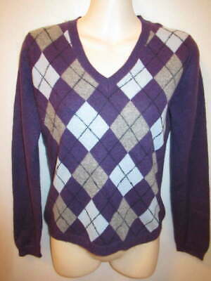 $12.95 • Buy Cashmere Cache 100% 2-ply Cashmere Gray Purple Argyle Sweater S May Fit PXS XS