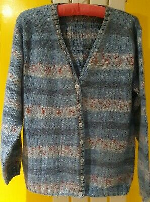 Size 12 14 16 Hand Knitted  Sea Blue & Coral  Warm Cardigan (Unworn) • 10£
