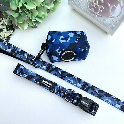 £9.99 • Buy Blue Camouflage Dog Collar And Lead Set, Boy Cute Dog Collar And Leash, Puppy