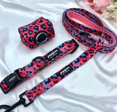 £9.99 • Buy Pink Leopard Dog Collar And Lead Set, Girl Dog Collar And Leash, Puppy Collar