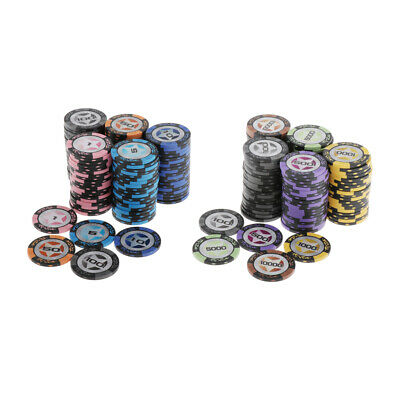 £28.48 • Buy 100pcs Texas Hold'em Striped Poker Chips Casino Board Cards Game Token Supplies