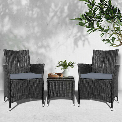 AU228.72 • Buy New 3pc WICKER OUTDOOR DINING TABLE CHAIR SET Patio Garden Furniture 2 Setting
