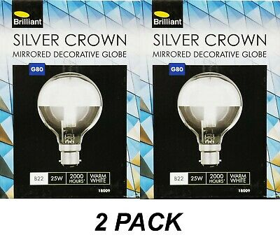 2 X 25W Silver Crown Light Globes Bulbs Lamps B22 Bayonet Incandescent 240V G80 • 20.14£