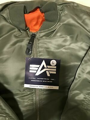 $109 • Buy G.I. USAF MA-1 Green Flyers Jacket By Alpha Industries, Made In USA