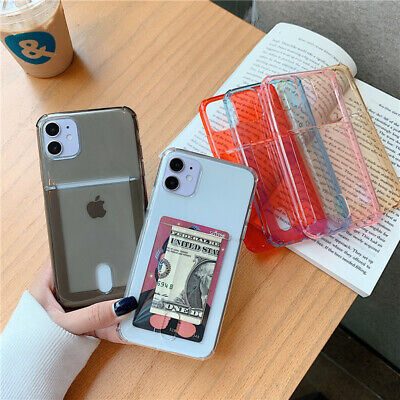 For IPhone 12 11 Pro 7 + X TPU Phone Case Card Holder Slot Soft Cover Shockproof • 3.66£