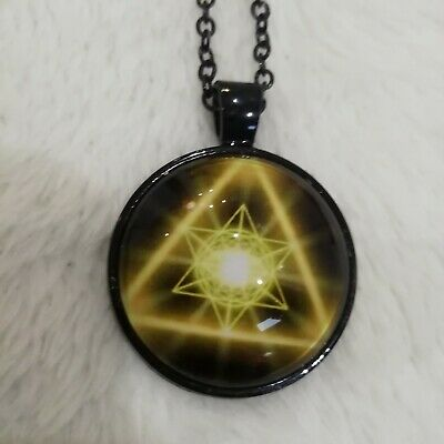 Merkaba Glass Pendant Yellow Black Plated Necklace • 5£