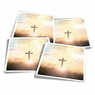 4x Square Stickers 10 Cm - Christian Cross Religion Jesus  #16488 • 3.49£
