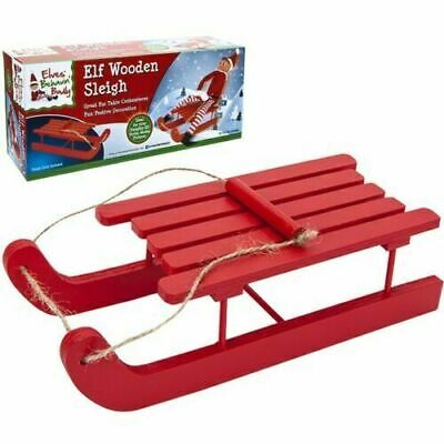 £5.49 • Buy ELF SLEIGH Large Wooden Red Sledge Naughty Elves Christmas Accessory Decoration