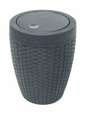 Addis Faux Rattan Round Swing Lid Bathroom Bin, Charcoal • 16.99£