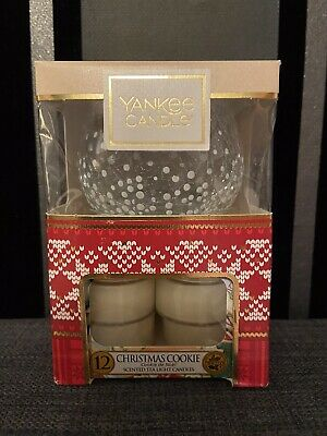 Yankee Candle Pack Of 12 Christmas Cookie Tealights With Glass Holder Gift Set • 9.99£