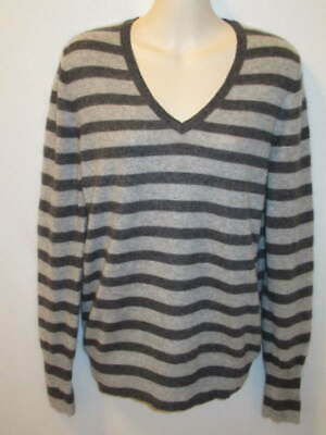 $16.95 • Buy Halogen 100% Cashmere Gray Striped V-neck Sweater M May Fit Small