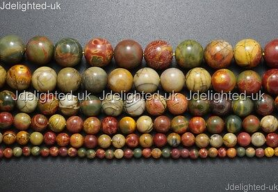 £3.28 • Buy Natural Picasso Jasper Gemstone Round Loose Beads 4mm 6mm 8mm 10mm 12mm 14mm 16