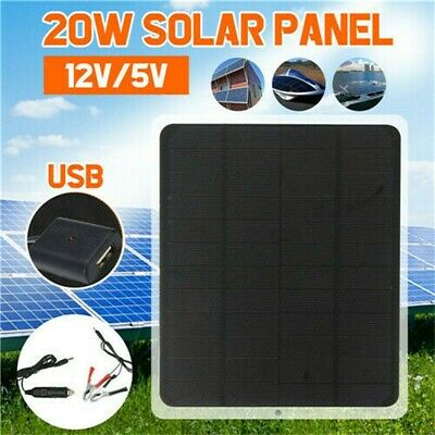 20W 12V Car Boat Solar Panel Trickle Battery Charger Power Supply Outdoor • 17.66£