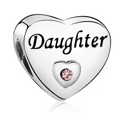 Daughter Gift Bead Charm Silver Plated Cubic Zirconia For Bracelet UK SELLER • 5.25£