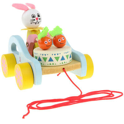 Rabbit Wooden Push & Pull Along Toy For Baby & Toddler - Rolls Easy, Sturdy • 7.72£