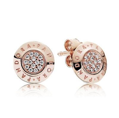 AU34.99 • Buy PANDORA Genuine Rose Gold Signature Logo Clear CZ # 280559CZ Stud Earrings New