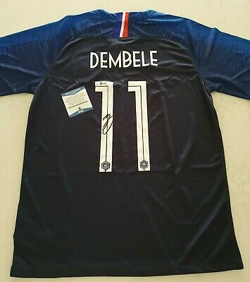 AU215 • Buy FRANCE OUSMANE DEMBELE  Hand Signed Jersey 2018 WORLD CUP WINNERS + BECKETT COA