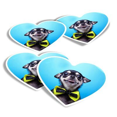 £2.99 • Buy 4x Heart Stickers - Chihuahua Bow Tie Dogs  #3706