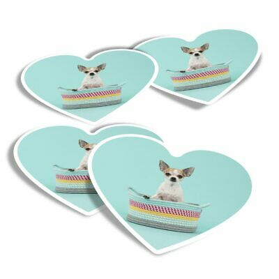 £2.99 • Buy 4x Heart Stickers - Chihuahua Puppy Dog Teal Background  #44583