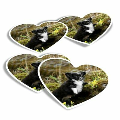 £2.99 • Buy 4x Heart Stickers - Chihuahua Puppy Black & White Dog  #44582
