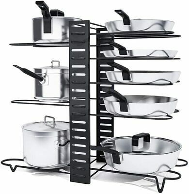 8 Tier Kitchen Pan Stand Saucepan Pot Rack Holder Chrome New By Home Discount UK • 10.39£