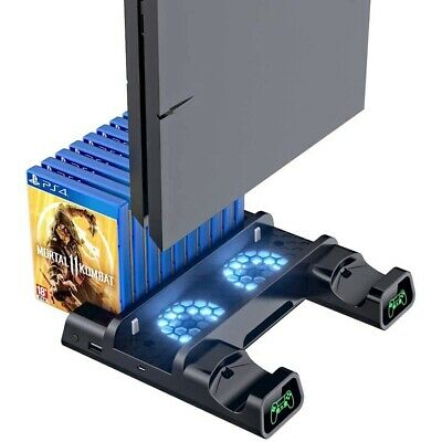 AU36.54 • Buy For PS4 Pro/Slim Console Vertical Stand + Controller Charging Dock + Cooling Fan
