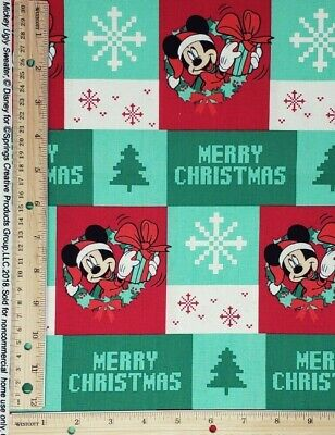 Mickey Mouse Christmas Holiday Quilt Cotton Fabric CP67077 Ugly Sweater 16 X44  • 11.55£