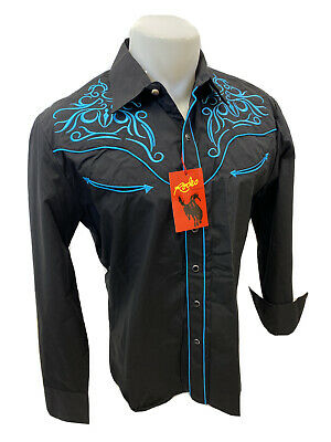 $34.97 • Buy Men RODEO WESTERN BLACK TEAL STITCH Long Sleeve Woven SNAP UP Shirt Cowboy 538