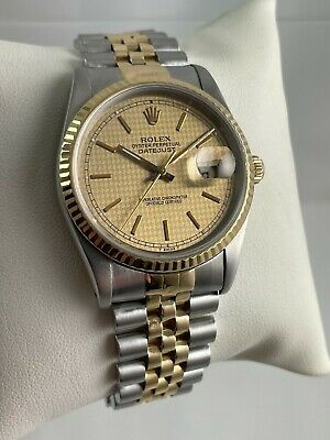 $ CDN6981.94 • Buy Vintage 1989 Rolex Datejust 16233 Two-Tone 18K / Steel Houndstooth Dial Watch