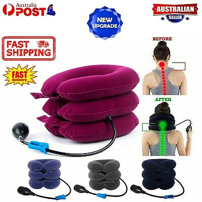 AU24.90 • Buy Air Inflatable Pillow Cervical Neck Head Pain Traction Support Brace Device 2021