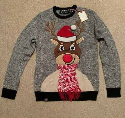 £14.50 • Buy Mens Grey Rudolph With Scarf Knitted Christmas Jumper Size S/M