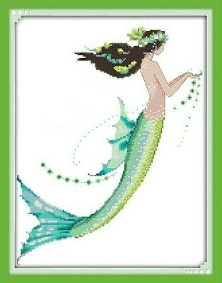 GREEN MERMAID COUNTED CROSS STITCH KIT 14 COUNT AIDA FINISHED SIZE 36x44CM • 12.99£