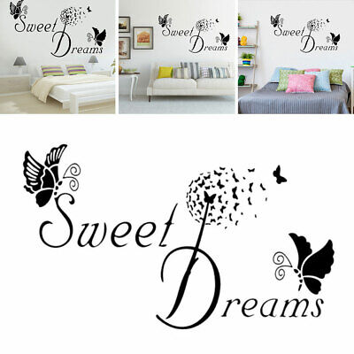 DIY Sweet Dreams Butterfly Love Quote Wall Sticker Bedroom Removable Home Decors • 3.03£