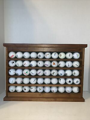 Wood Display Rack & Unique Golf Ball Collection Of Courses Played. (Trkng ALST) • 50.65£
