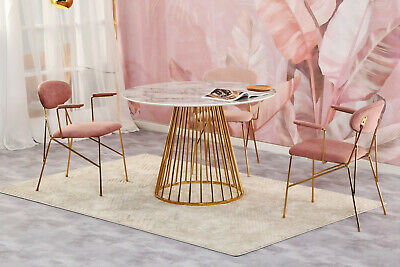 £190 • Buy Round Marble Dining Table With Golden Chrome Legs 80/100/120cm Marble Effect Top