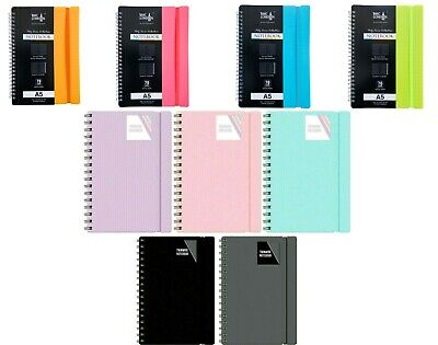 A5/A4 Notebook Spiral Poly Pastel Banded Twin Wire Lined  Ruled Notepad Journal  • 2.99£