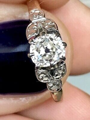Exquisite 0.80 Art Deco Old Cut Diamond Solitaire Ring 18ct Gold Platinum 18k • 1,195£