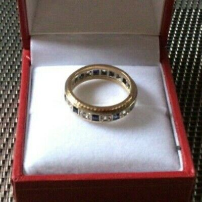 9ct GOLD & PLATINUM DIAMOND AND SAPPHIRE FULL ETERNITY RING SIZE O In Box • 255£