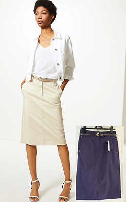 £9.99 • Buy M&S PER UNA Cotton Rich Chino A-Line Navy Skirt With Belt UK 10 / EUR 38
