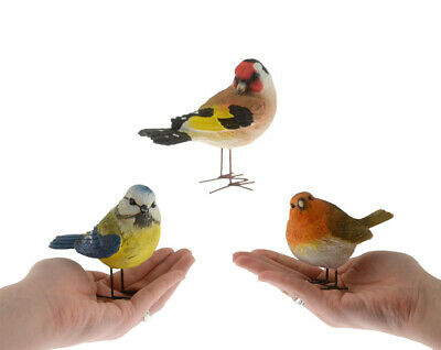 Small Bird Ornaments Robin Blue Tit Goldfinch Set Of 3 - Ideal Mother's Day Gift • 14.99£