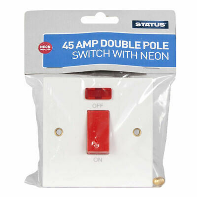 £6.54 • Buy 45 AMP Double Pole Switch White With Neon On/Off Indicator | Fixings Included
