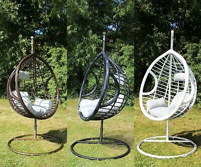 Swing Hanging Egg Chair With Cushion Patio Garden Outdoor PE Rattan Furniture • 110£